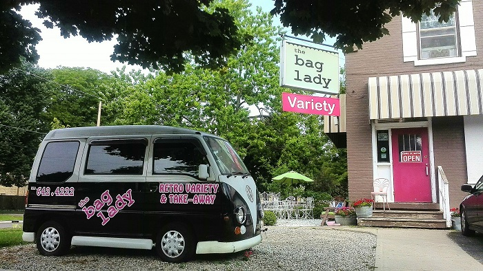 The Bag Lady London Ontario entrance and van