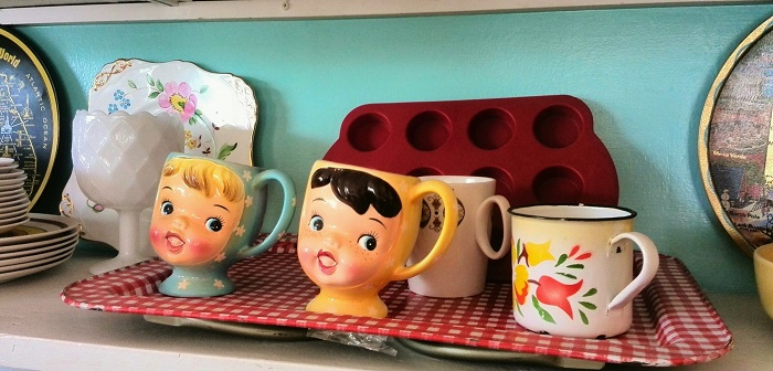 Girl face mugs at The Bag Lady in London Ontario