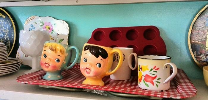 Girl face mugs at The Bag Lady in London Ontario