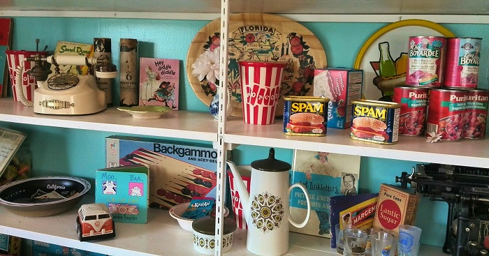 Vintage object display in The Bag Lady | Restaurant in London Ontario