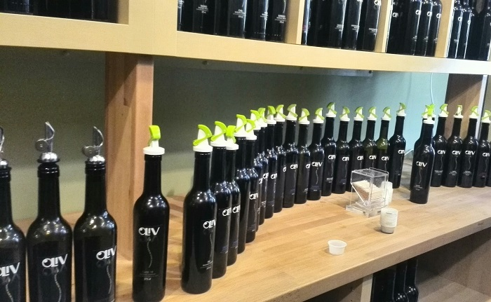 Olive-oil-bottles at Oliv Tasting Room in Niagara on the Lake