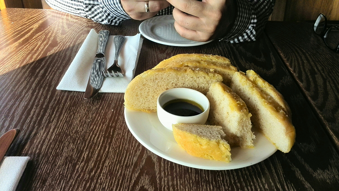 Foccaccia with olive oil and balsamic dip at Dolcetto Risto in London Ontario