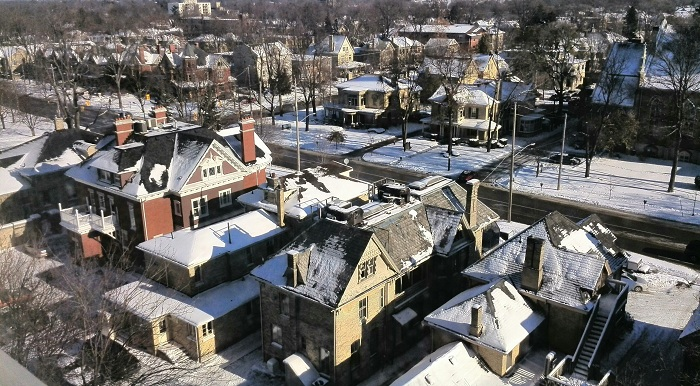 Snow capped roofs in London Ontario