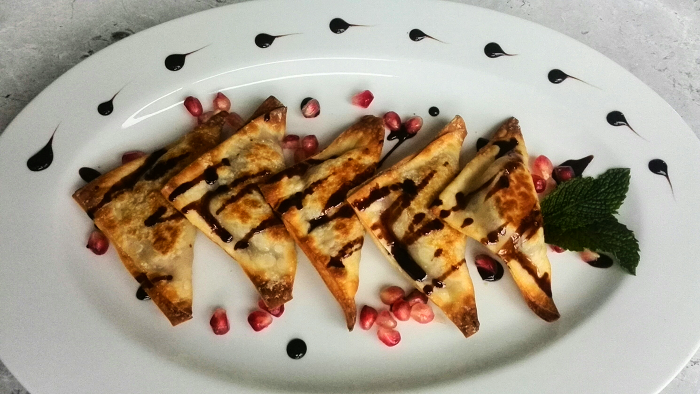 Chocolate cream cheese pomegranate wonton wrapper party appetizer