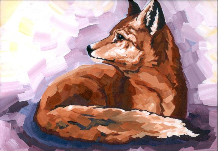 Fox painting by Katelyn Tippin featured at The Railway City Arts Crawl in St. Thomas Ontario