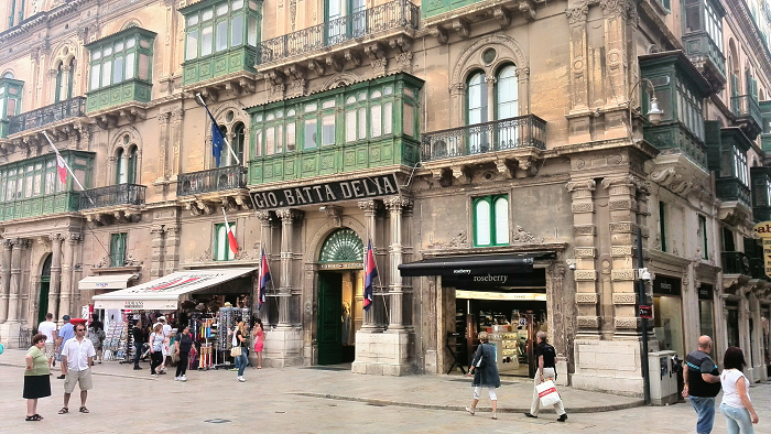 Shop fronts on Republic Street Valletta