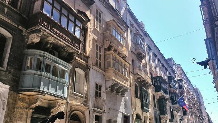 Traditional Exterior Building facade Valletta Malta