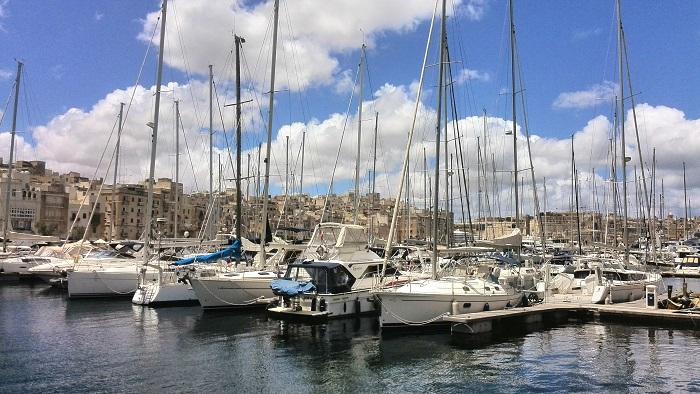 Yacht launch in Birgu (Vittoriosa) Malta