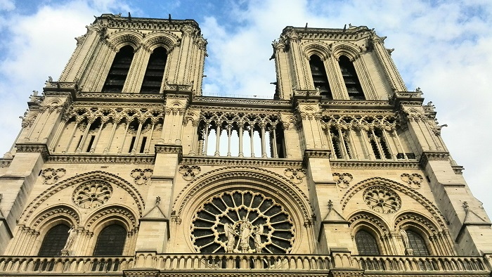 Exterior front of Notre Dame Cathedral in Paris