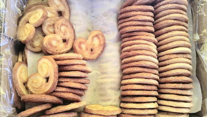 Palmier cookies at the Bastille Market in Paris