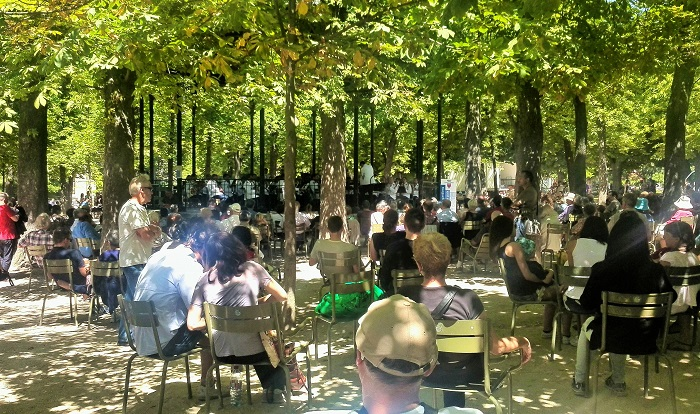 Listening to the orchestra in Jardin du Luxembourg, Paris