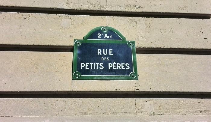 Rue des Petits Peres sign in Paris