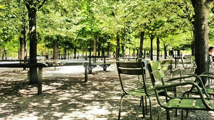 Green chairs in Jardin du Luxembourg, Paris