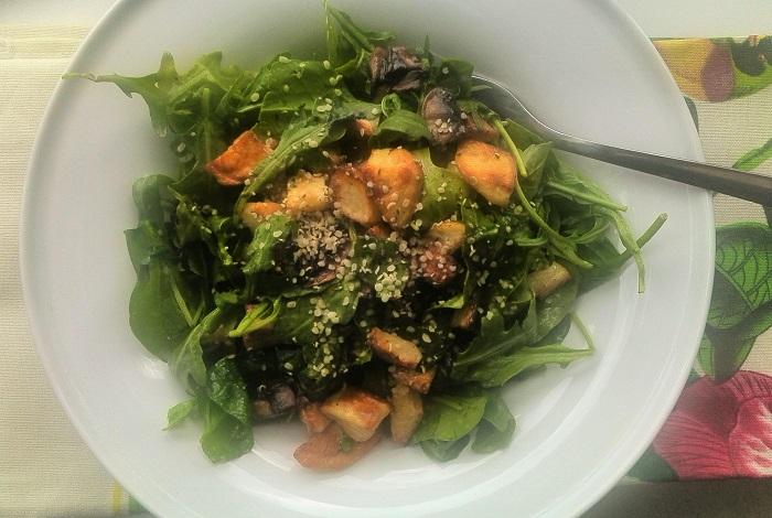 Roasted potato and mushroom salad with hemp seeds