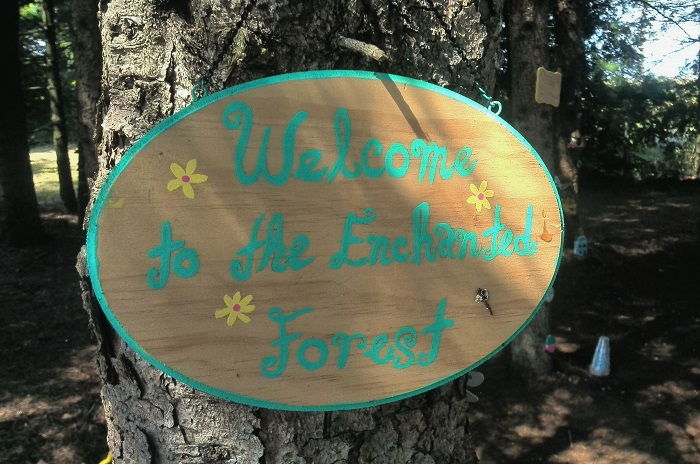 Enchanted forest sign, Steed and Company, Sparta
