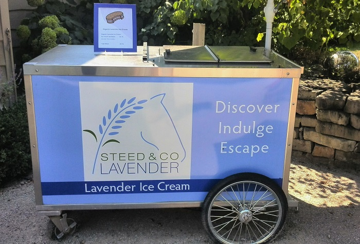 Lavender ice cream cart, Steed and Company, Sparta