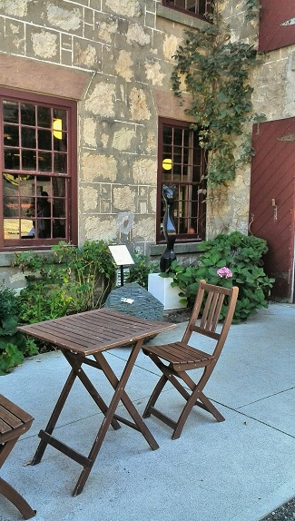 Outdoor cafe seating, Alton Mill Art Centre, Caledon