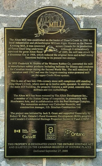 Historic plaque, Alton Mill Art Centre, Caledon