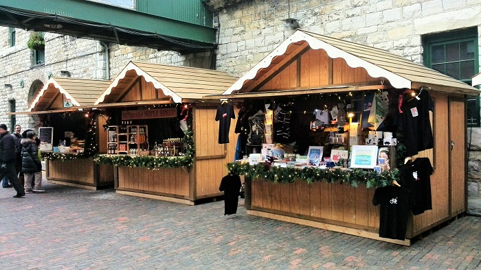 Wooden vendor stalls, Christmas Market, Distillery District, Toronto