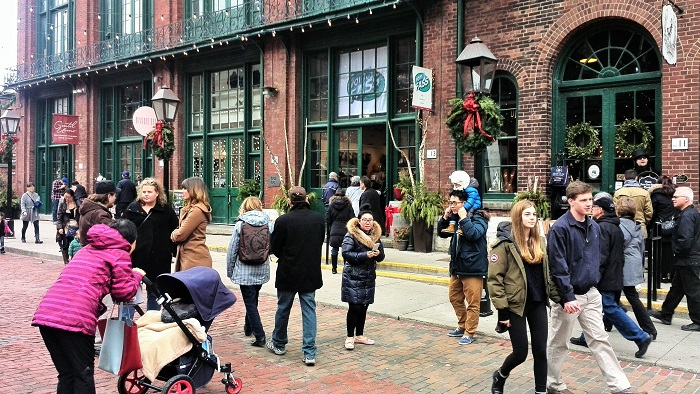 Crowds at the Distillery District, Toronto