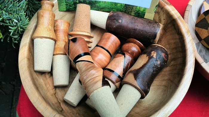 Wood wine stoppers, Christmas Market, Distillery District, Toronto