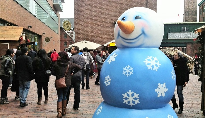 Snowman scultpure, Christmas Market, Distillery District, Toronto