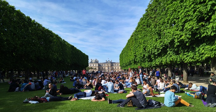 Crowds at Jardin de Luxembourg, Paris, France