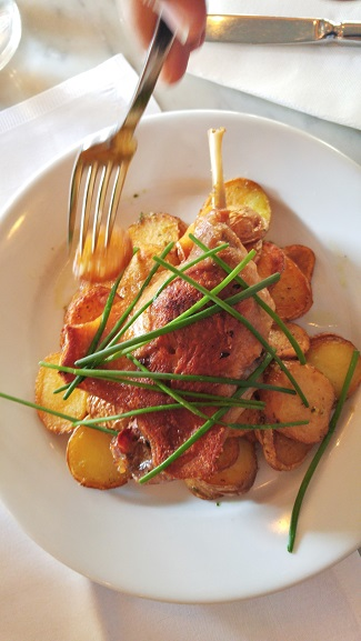 Duck confit with crisp potatoes, Cafe Hugo, Paris, France