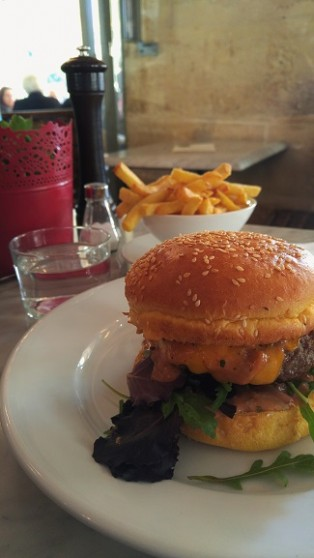 Cheeseburger and fries, Cafe Hugo, Paris, France