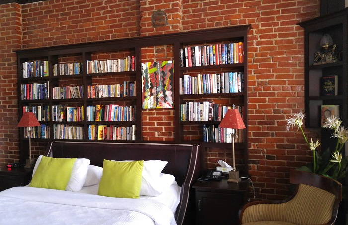 Bookcases Inside The Study - Retro Suites in Chatham, ON