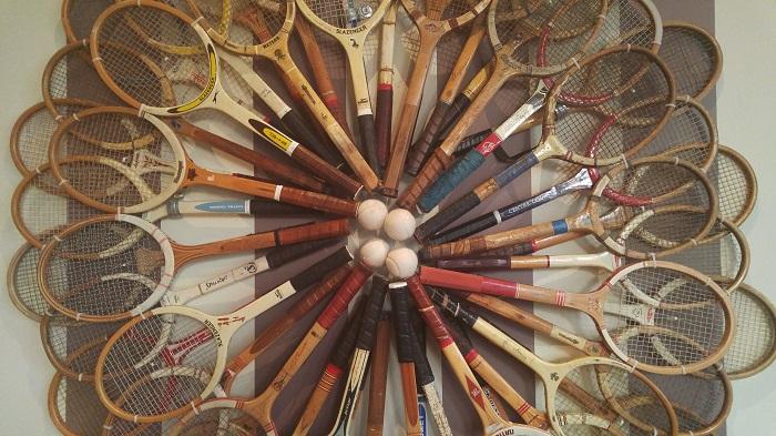 Tennis Racquet Art Inside the Chilled Cork restaurant in Chatham, ON