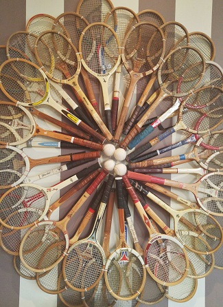 Closeup of Tennis Racquet Art Inside the Chilled Cork restaurant in Chatham, ON